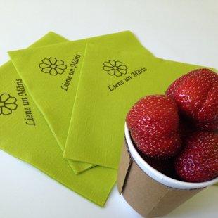 Kāzu salvetes ar lina faktūru un personalizētu apdruku