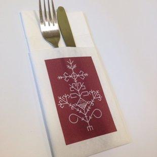 Īpaša salvetes kabatiņa ar lina faktūru un personalizētu apdruku
